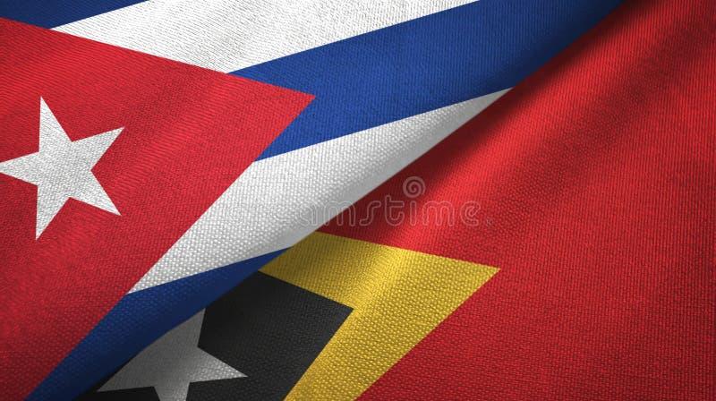 Ткань ткани флагов Кубы и Тимор-Леште Восточного Тимора 2, текстура ткани иллюстрация штока