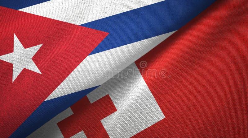 Ткань ткани флагов Кубы и Тонги 2, текстура ткани иллюстрация вектора