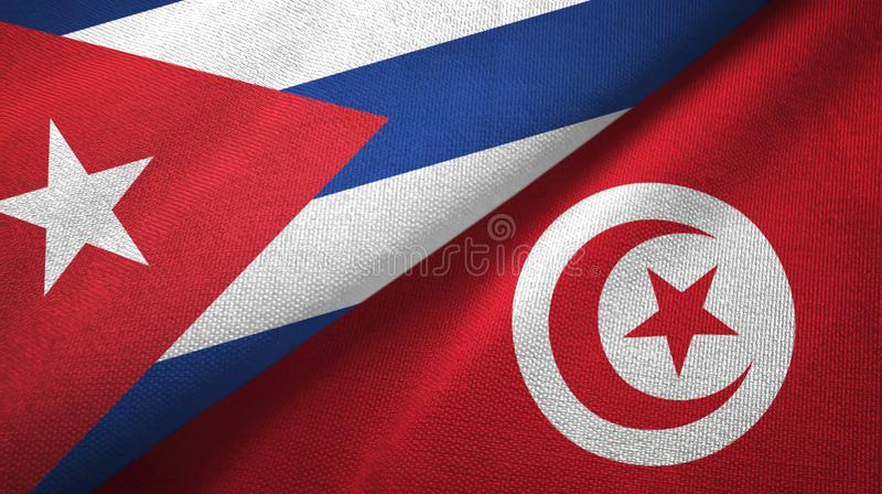 Ткань ткани флагов Кубы и Туниса 2, текстура ткани иллюстрация вектора