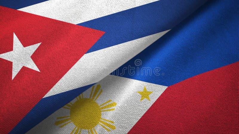 Ткань ткани флагов Кубы и Филиппин 2, текстура ткани бесплатная иллюстрация