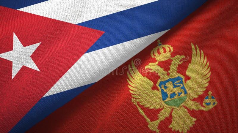 Ткань ткани флагов Кубы и Черногории 2, текстура ткани иллюстрация штока