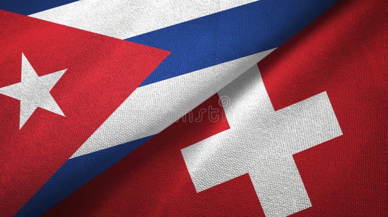Ткань ткани флагов Кубы и Швейцарии 2, текстура ткани иллюстрация штока