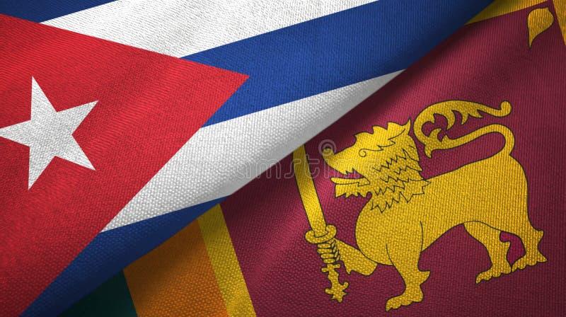 Ткань ткани флагов Кубы и Шри-Ланка 2, текстура ткани бесплатная иллюстрация