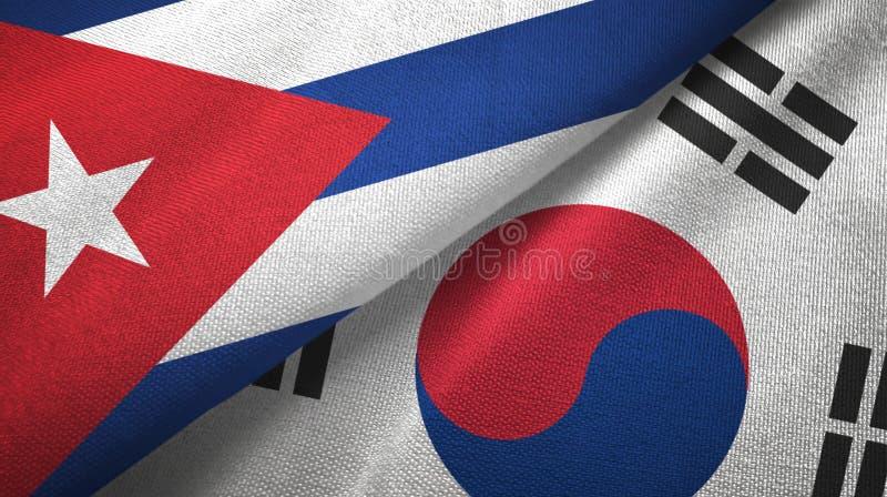 Ткань ткани флагов Кубы и Южной Кореи 2, текстура ткани иллюстрация вектора