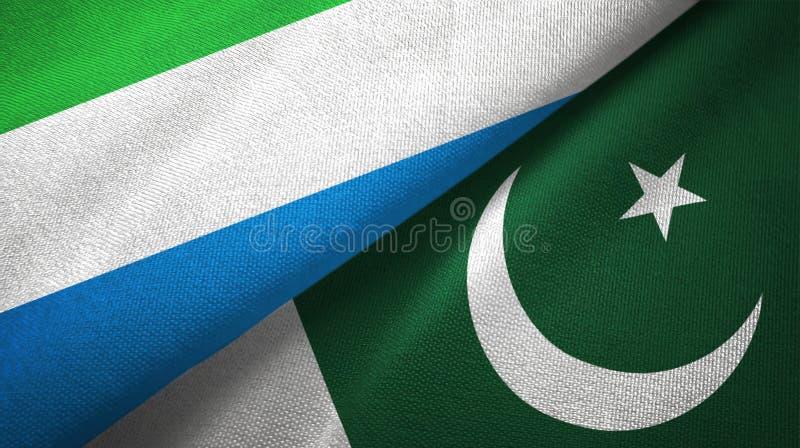 Ткань ткани флагов Сьерра-Леоне и Пакистана 2, текстура ткани стоковое изображение rf