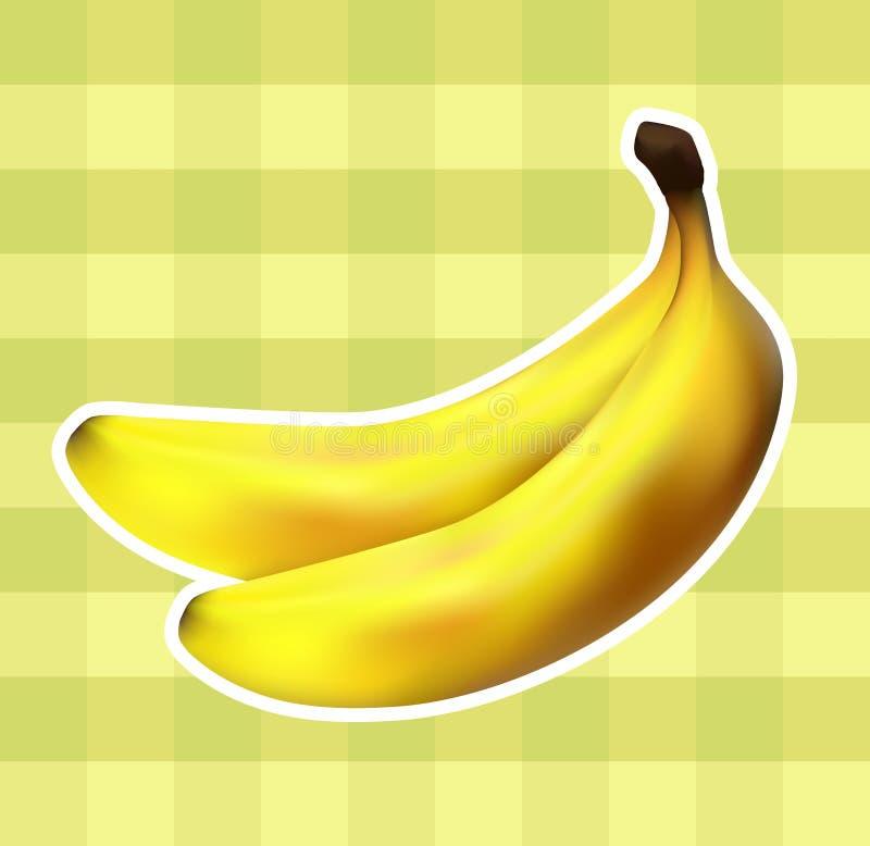 Ткань шотландки с бананами иллюстрация вектора