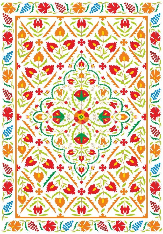 Ткань Suzani - узбекская вышивка иллюстрация штока