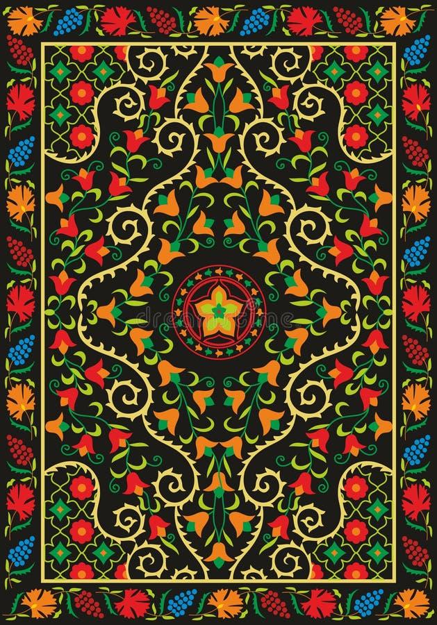 Ткань Suzani - узбекская вышивка иллюстрация вектора