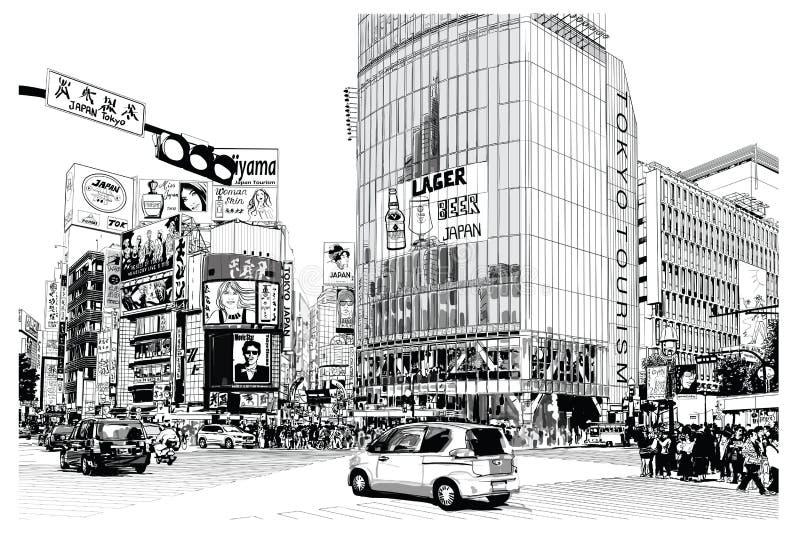 ТОКИО, известный перекресток Shibuya бесплатная иллюстрация