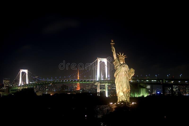 токио odaiba ночи японии стоковое фото rf