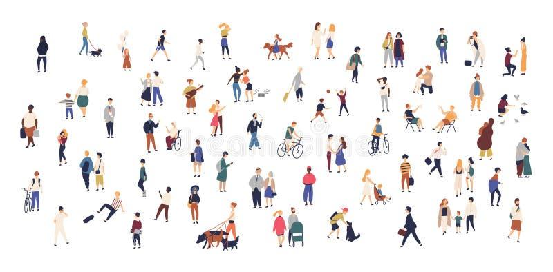Толпа крошечных людей идя с детьми или собаками, ехать велосипедами, положением, говорить, бежать Люди и женщины шаржа иллюстрация вектора