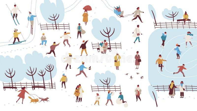 Толпа крошечных людей одетых в outerwear осуществляя мероприятия на свежем воздухе в парке зимы - снеговике здания, бросая бесплатная иллюстрация