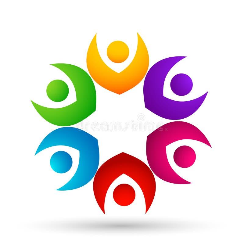 Толпа людей объединяется в команду соединение работы, веселя вверх в логотипе круга на белой предпосылке иллюстрация штока