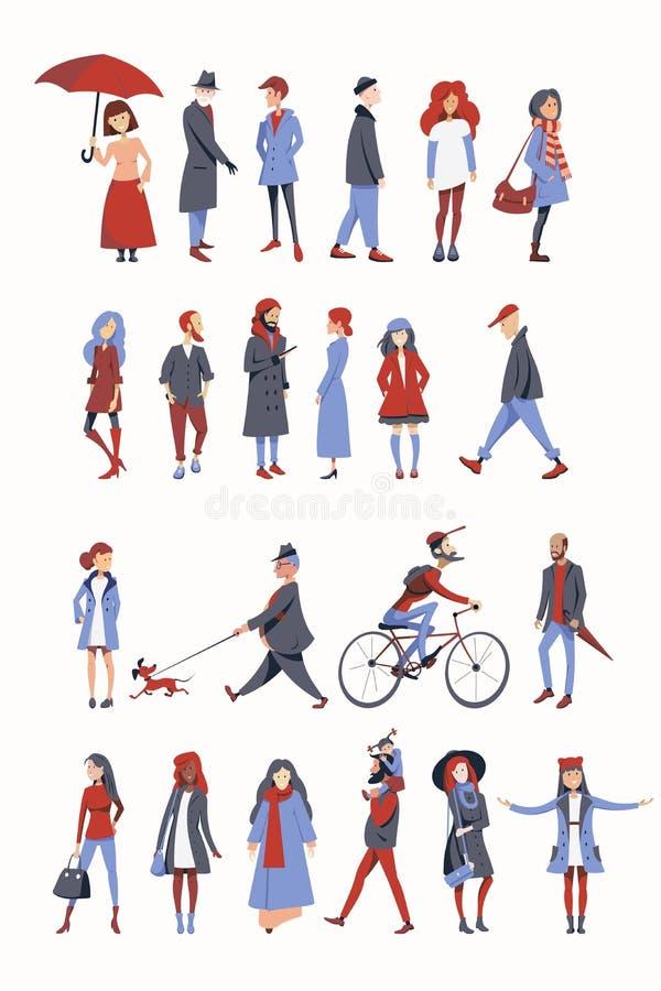 Толпа людей одетых в одеждах осени иллюстрация вектора