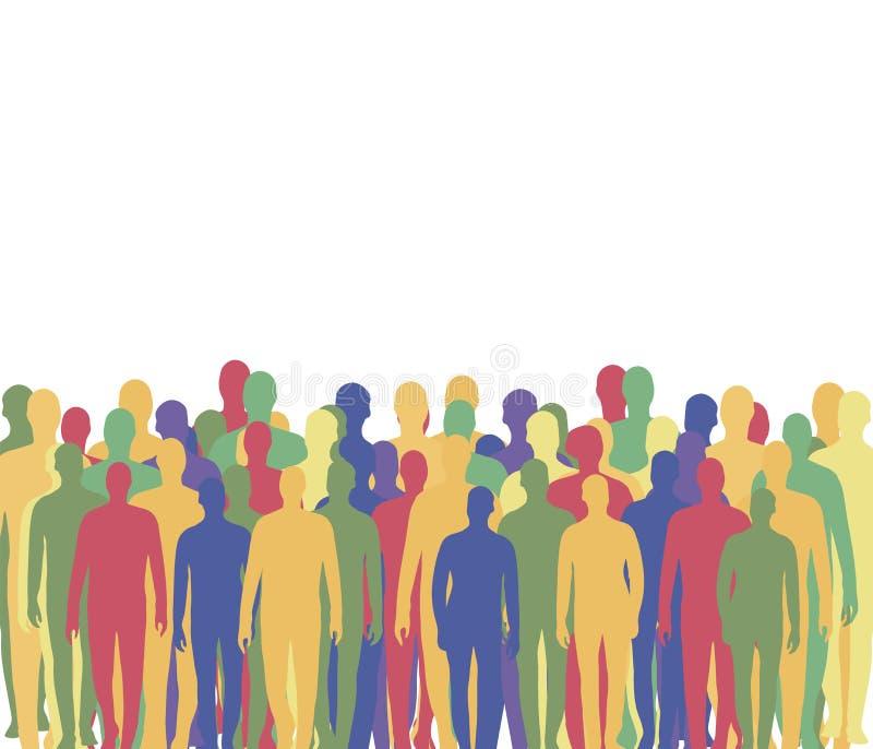 Толпа людей от пестротканых силуэтов ` s людей ждать компанию стоит на дне, пустой белой зоне вверху иллюстрация штока