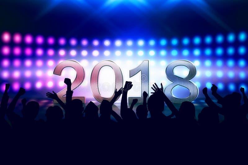Толпа людей празднуя счастливый Новый Год 2018 бесплатная иллюстрация
