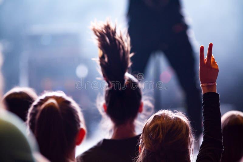 толпа наслаждаясь концертом - музыкальным фестивалем лета стоковые фотографии rf