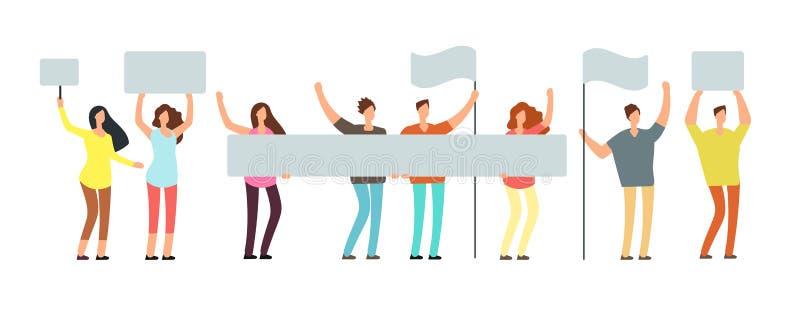 Толпа протестуя людей с знаменами, флагами Голосуя студенты на демонстрации Вектор политической встречи и протеста бесплатная иллюстрация