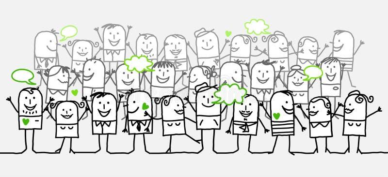 толпа счастливая иллюстрация вектора