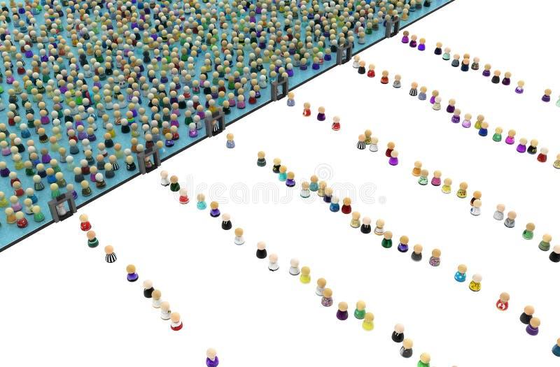 Толпа шаржа, граница расмок металлоискателя иллюстрация вектора