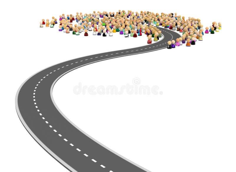 Толпа шаржа, конец дороги бесплатная иллюстрация