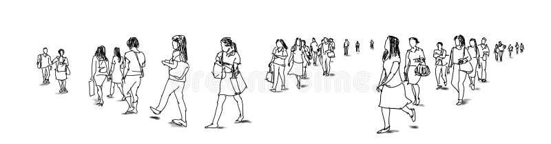 Толпитесь взгляд панорамы эскиза чернил группы людей идя freehand иллюстрация штока