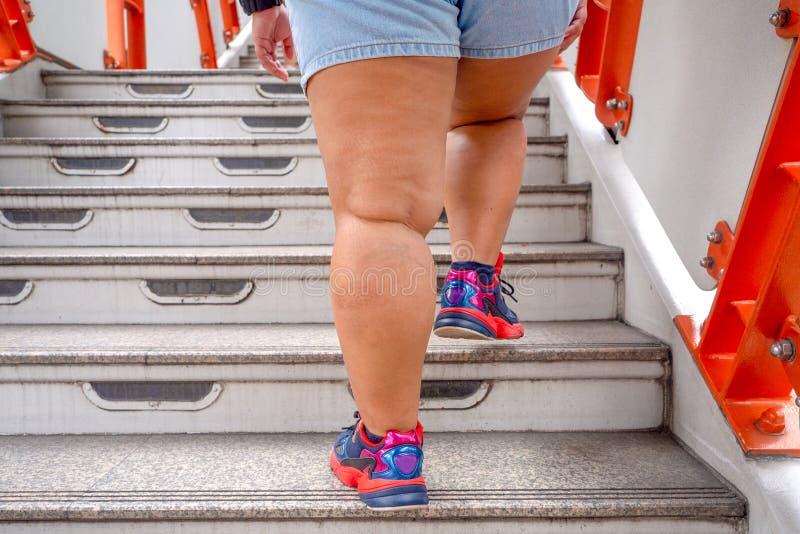 Толстая женщина поднимется по лестнице стоковые изображения