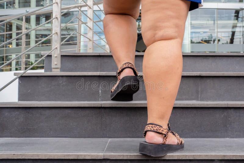 Толстая женщина поднимется по лестнице стоковое изображение