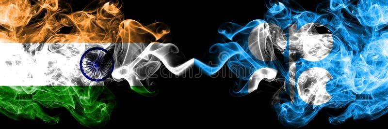Индия против флагов дыма ОПЕК установила сторону - - сторона Толстые покрашенные шелковистые флаги дыма индейца и ОПЕК иллюстрация штока