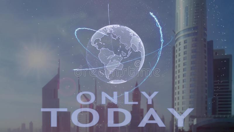 Только сегодня текст с hologram 3d земли планеты против фона современной метрополии иллюстрация штока