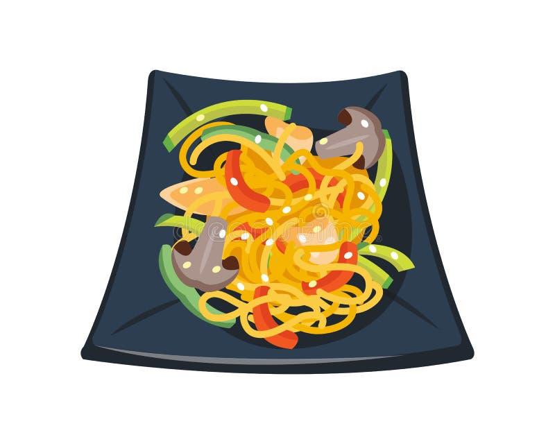 Томатный соус макаронных изделий при томаты грибов украшенные с шаром петрушки изолировал очень вкусное здоровой еды завтрака гор иллюстрация штока