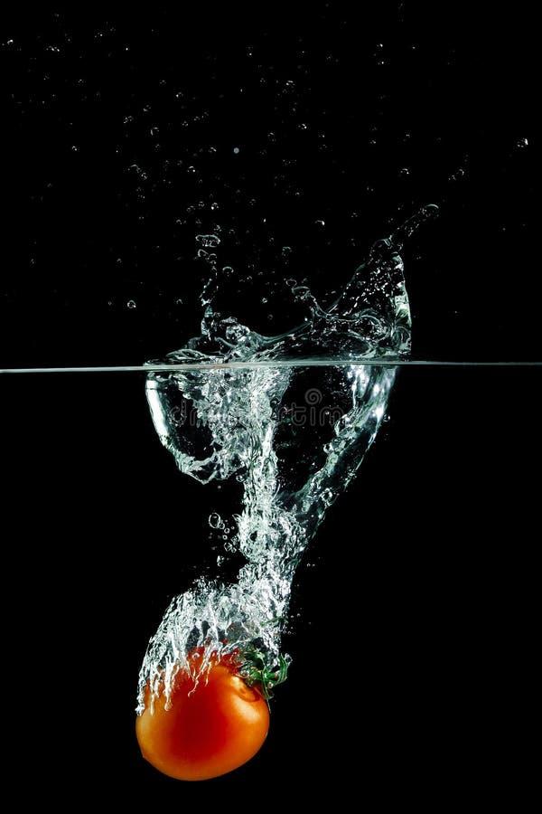 Томат в выплеске воды стоковое изображение rf
