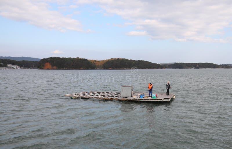 Тому назад ландшафт острова залива и рыболов Shima Япония стоковые фото