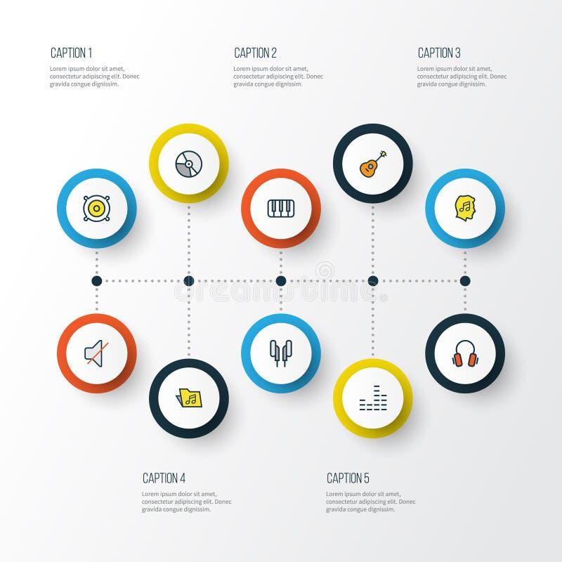 Тональнозвуковые красочные установленные значки плана Собрание ключей, шаблона, смесителя и других элементов Также включает симво бесплатная иллюстрация
