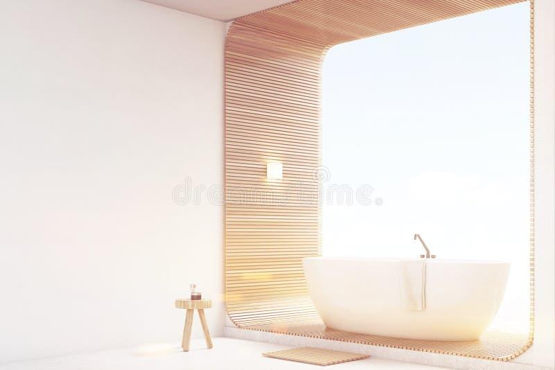 Тонизированный взгляд со стороны белой ванной комнаты с древесиной, иллюстрация вектора