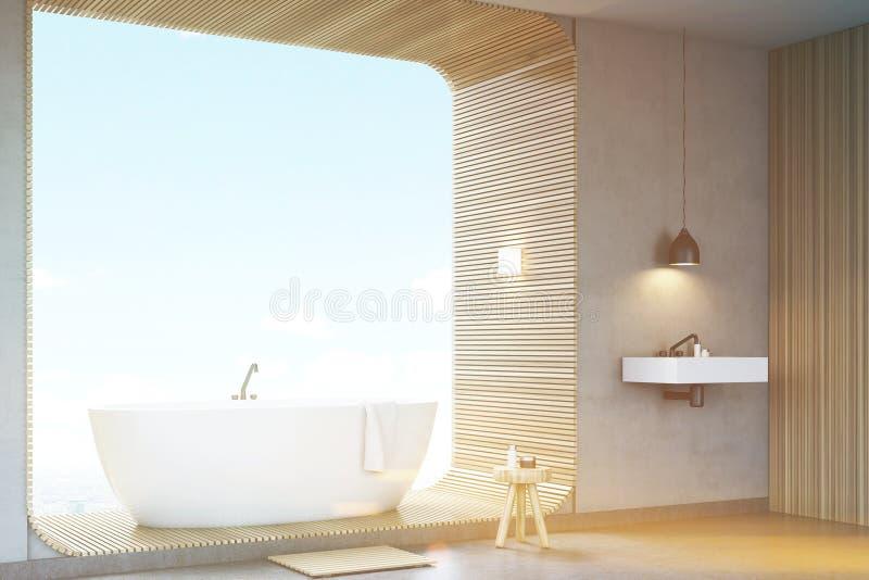 Тонизированный взгляд со стороны ванной комнаты с древесиной, бесплатная иллюстрация