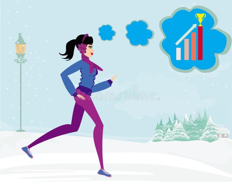 Тонкая девушка бежать в зиме бесплатная иллюстрация