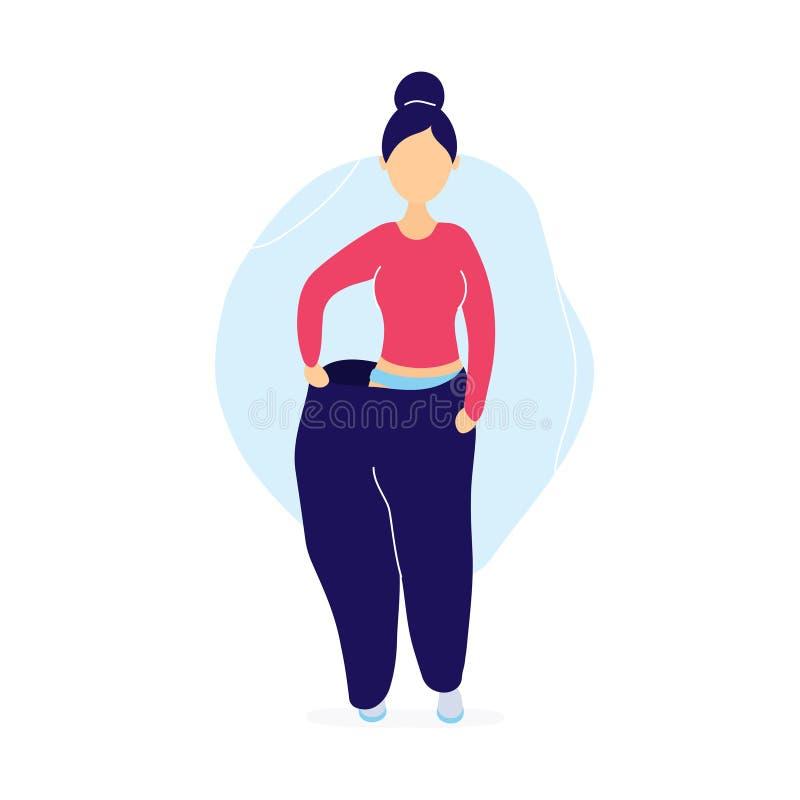 Тонкая женщина в слишком больших брюках иллюстрация вектора