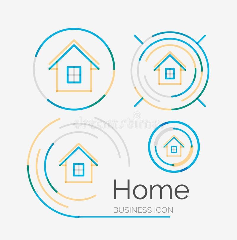 Тонкая линия аккуратный комплект логотипа дизайна, домашняя идея бесплатная иллюстрация