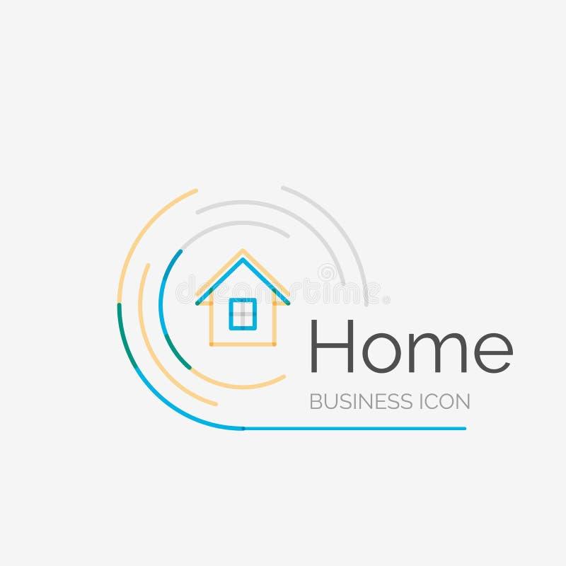 Тонкая линия аккуратный логотип дизайна, домашняя идея бесплатная иллюстрация
