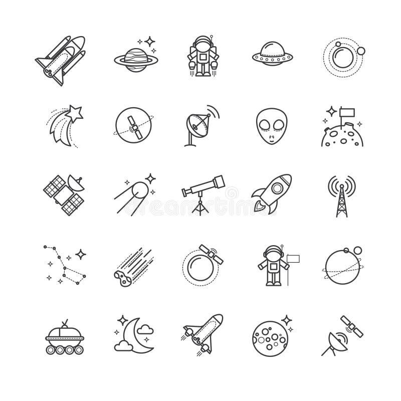 Тонкая линия значки - космос, комплект астрономии иллюстрация штока