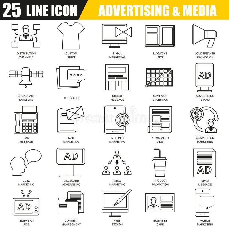 Тонкая линия значки установила каналов средств массовой информации рекламы иллюстрация вектора