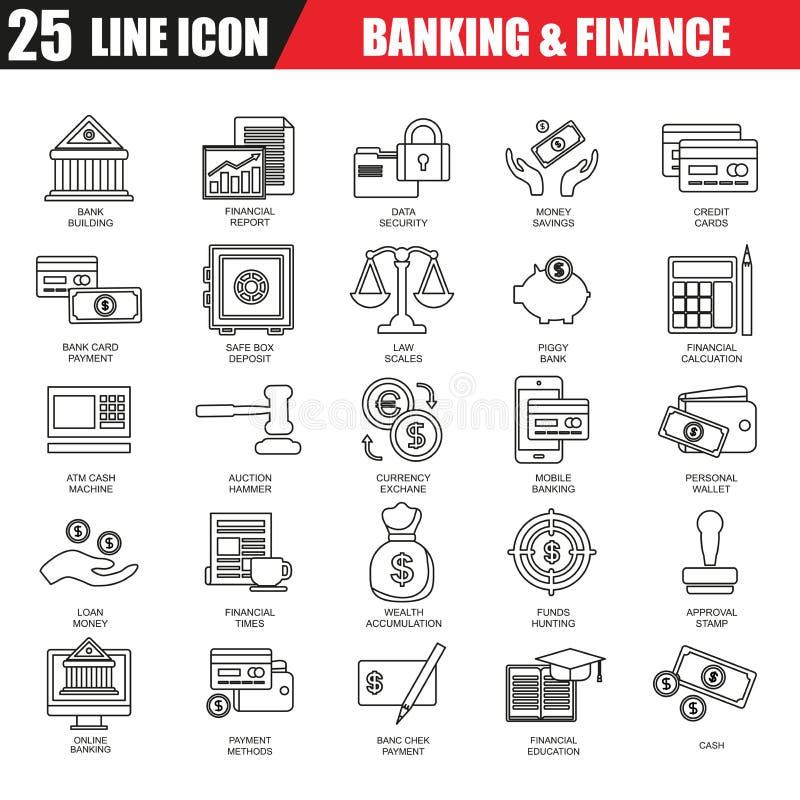 Тонкая линия значки установила экономики, банка и финансовых обслуживаний иллюстрация штока