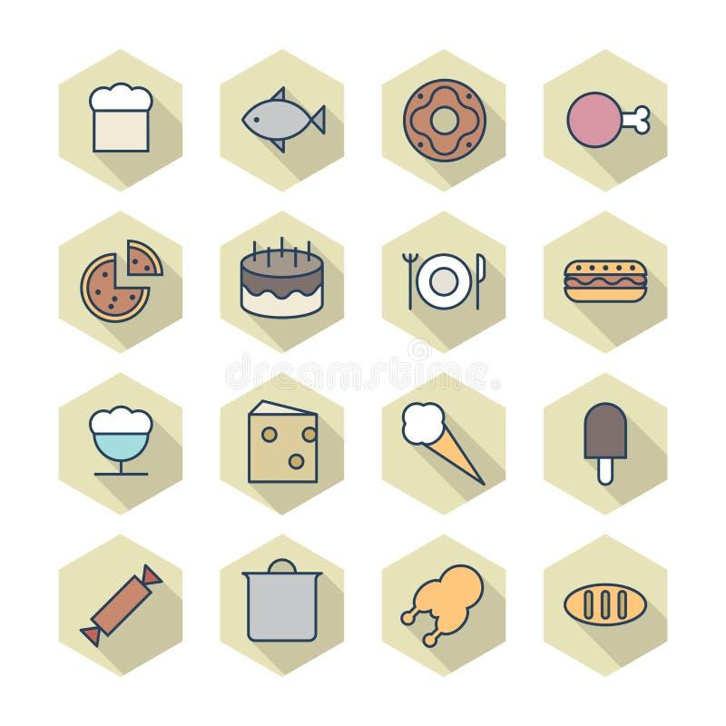 Тонкая линия значки для еды бесплатная иллюстрация