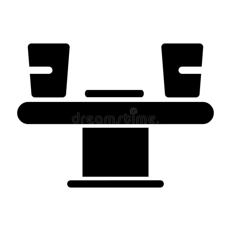 Тонкая линия значок Иллюстрация таблицы и чашек кафе, знак ресторана Сервис связанный с питанием Значок стиля вектора линейный иллюстрация вектора