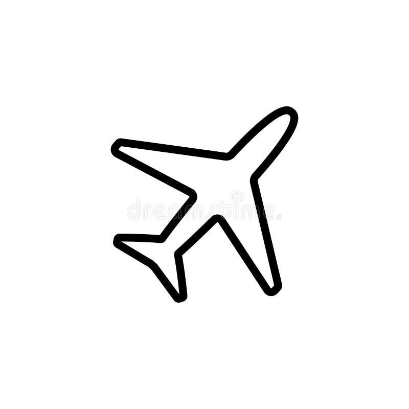 Тонкая линия значок самолета стоковое фото