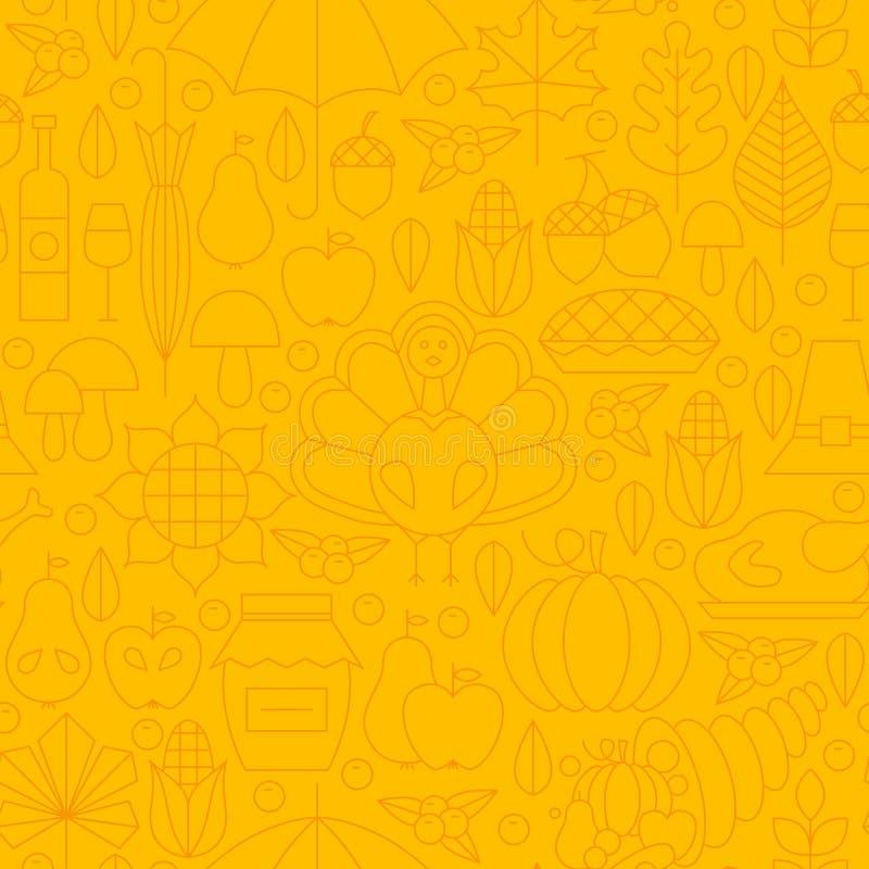 Тонкая линия картина обедающего благодарения праздника безшовная желтая иллюстрация штока