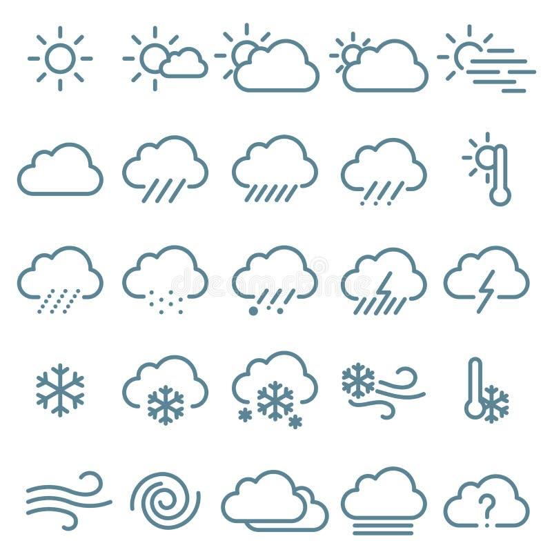 Тонкая линия комплект значка погоды иллюстрация штока