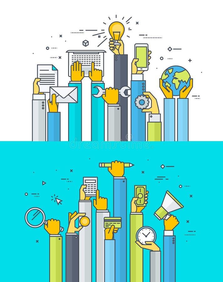 Тонкая линия плоские идеи проекта для интернет-обслуживаний и apps бесплатная иллюстрация