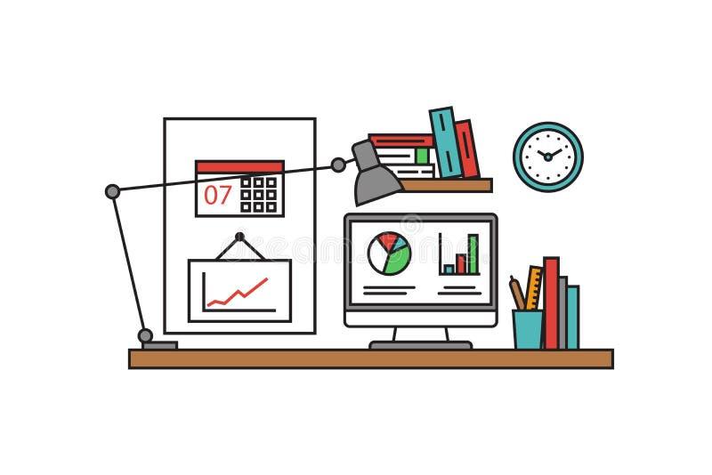 Тонкая линия плоский дизайн инструментов и equipmen рабочего места Современная концепция иллюстрации вектора, изолированная на бе бесплатная иллюстрация